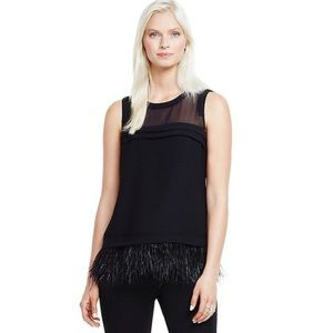Vince Camuto Feather Fringe Sheer Yoke Top